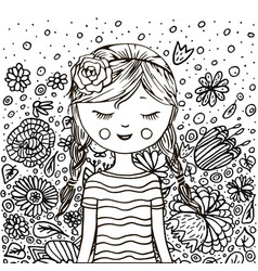 cute little girl pattern doodle coloring book vector image