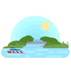 hydroelectric power station on a river with a vector image