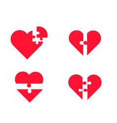 puzzle heart set vector image