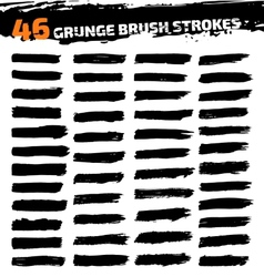 Set of black different grunge brush strokes vector image vector image