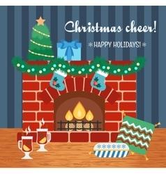 Christmas attributes Christmas gift card vector image