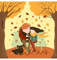 Couple sitting on bench and drink coffee vector image