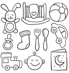 Doodle of element baby collection vector