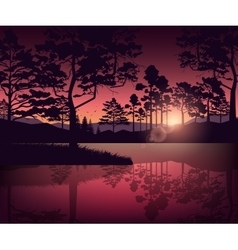 Mountains and lake landscape with silhouette of vector image vector image
