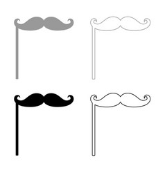 mustaches on the stick icon grey and black color vector image