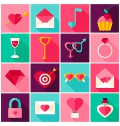 Valentines Day Colorful Icons vector image vector image