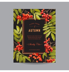 Vintage Floral Frame - Autumn Rowan Berries vector image vector image