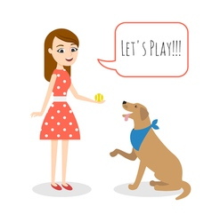 young woman playing with a dog vector image vector image