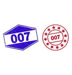 007 scratched seals in circle and hexagon forms vector