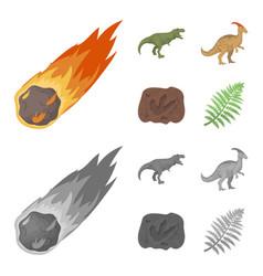 A falling meteoriteparasaurolophus tyrannosaurus vector