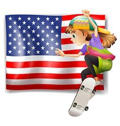 A female skater near the USA flag vector image