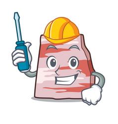 Automotive pork lard mascot cartoon vector