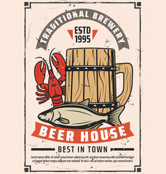 Beer brewery house retro advertisement poster vector