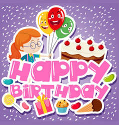 Birthday card template with girl and cake vector