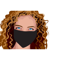Blue eyed girl with brown curly hair in surgical vector