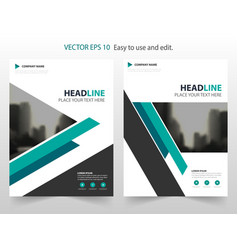 Blue triangle annual report brochure design vector