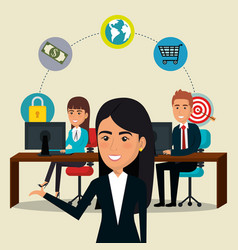 Businesspeople in the office with e-mail marketing vector