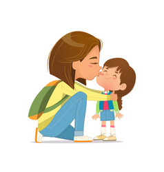 Caring young mother embracing kissing cute little vector