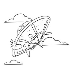 Cartoon image of flying saucer vector