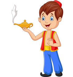 cartoon little aladdin holding his magic lamp vector image