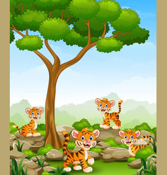 Cartoon tiger group in the jungle vector