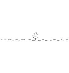 Cartoon unhappy lonely man or businessman in vector