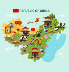 China travel sightseeing map poster vector