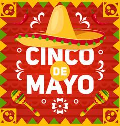 cinco de mayo holiday sombrero maracas vector image