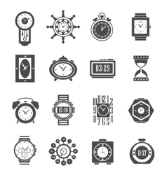 Clock Black Icons Set vector