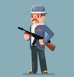 Criminal gangster submachine gun thug character vector