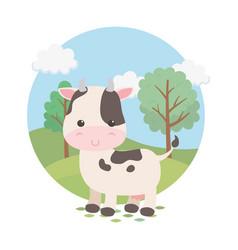 Cute cow animal farm character vector