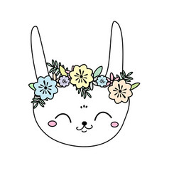 Cute rabbit kawaii bunny sweet little hare vector