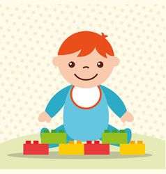 cute toddler boy with blocks brick toys vector image