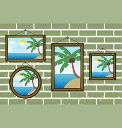day summer beach frames on a wall vector image