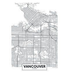 Detailed poster city map vancouver vector
