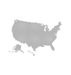 dotted style map of usa and white background vector image