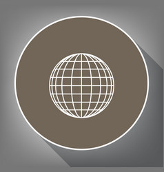 earth globe sign white icon on brown vector image