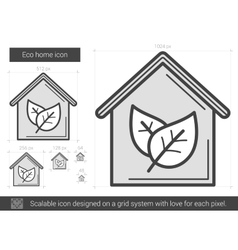 Eco home line icon vector