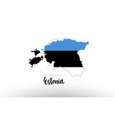 estonia country flag inside map contour design vector image