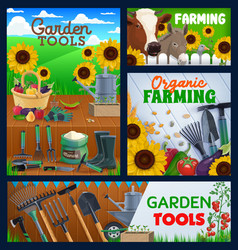 farming and gardening tools banners vector image