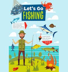 Fishing sport poster fish and fisherman vector