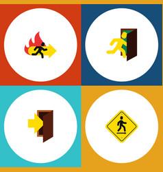 flat icon emergency set of open door direction vector image