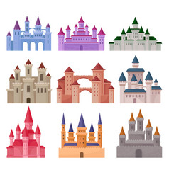 Flat set of large fairy tale castles vector
