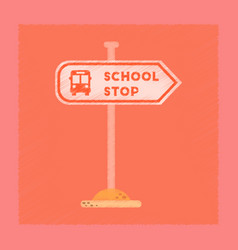 flat shading style icon school stop sign vector image