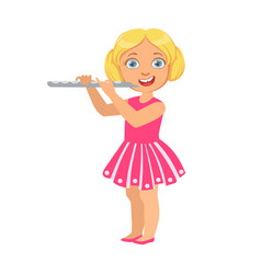 girl playing flute kid performing on stage vector image