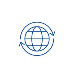 Global logistics line icon concept global vector