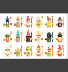 gnomes dwarfs or elf and leprechaun cartoon magic vector image