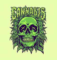 green cannabis skull weeds plant vector image