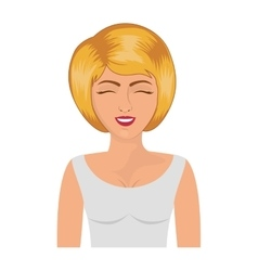 half body blonde woman with white blouse vector image