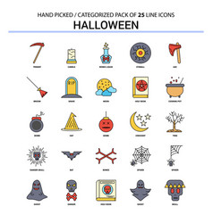 halloween flat line icon set - business concept vector image